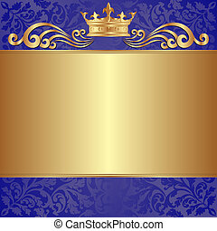 Illustration Blue Background For Invitation Gold Pattern And Crown