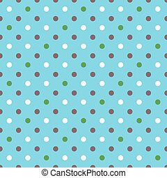 blue background fabric with white, green, brown dots seamless pattern