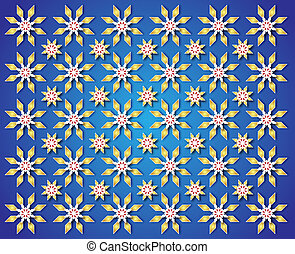 blue background of golden Christmas Star