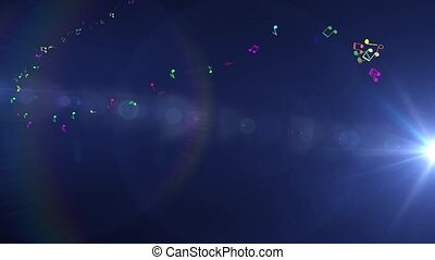Blue background of musical multicolored light flashes of light