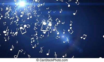 Blue background of musical white light flashes of light