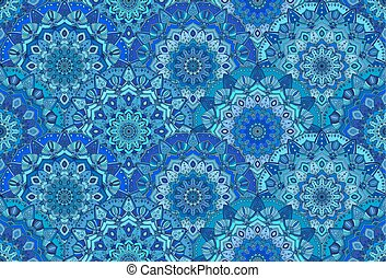 Blue Background Sea Waves Mandala Flowers