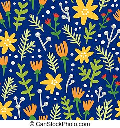 Blue background seamless pattern with colorful flowers