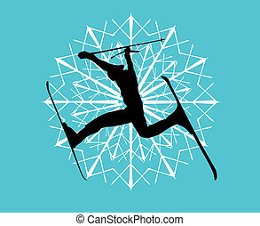 blue background skier vector art