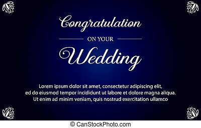 Blue background wedding invitation card