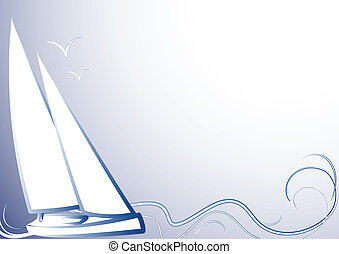 Blue background with a yachtBlue ba - Blue background with...