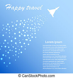 Blue background with airplane. Vector illustration