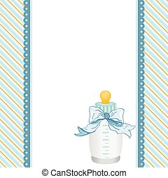 Blue background with baby bottle milk and ribbon