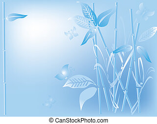 Blue background with bamboo