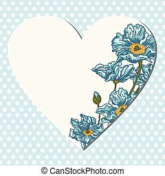 Blue background with blank heart and flowers