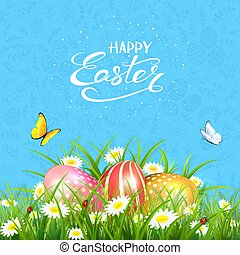 Blue background with butterflies and Easter eggs in grass