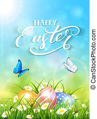Blue background with butterflies and three Easter eggs in grass