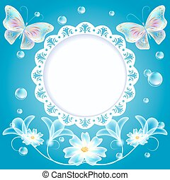 Blue background with butterflies, flowers and openwork frame
