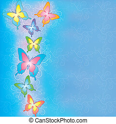 Blue background with butterflies vector