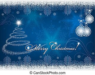 blue background with christmas tree and christmas balls