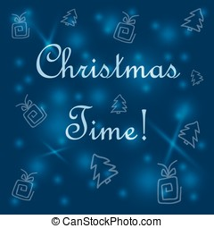blue background with Christmas trees and gifts