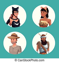 blue background with circular button half body male and female in halloween costume