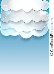 Blue background with clouds and place for text.