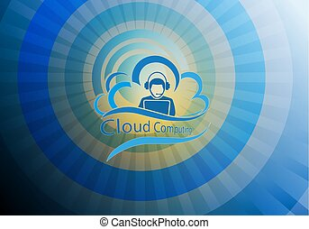 blue background with computer cloud