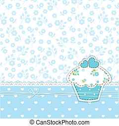 Blue background with cupcake - Blue romantic background with...