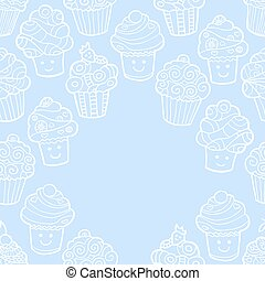 Blue background with cute doodle cupcakes.