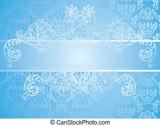 blue background with floral element
