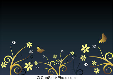Blue background with flowers and butterflies