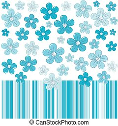 Blue background with flowers and stripes