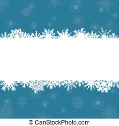 blue background with frame for congratulations and snowflakes