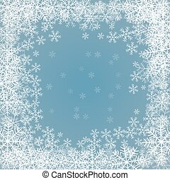 blue background with frame of snowflakes - red background...