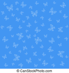 Blue background with graceful white butterflies