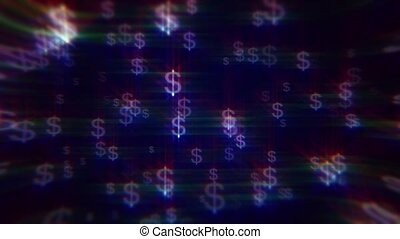 iridescent dollar signs - Blue background with iridescent...