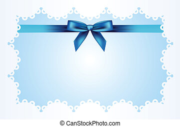 Blue background with lace and ribbo