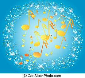 Blue background with musical notes, bubbles and stars