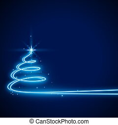 blue background with neon christmas tree design
