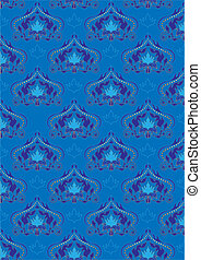 Blue background with oriental ornam