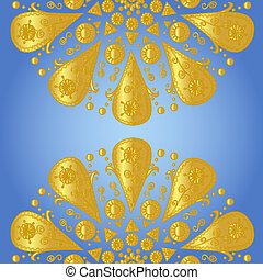 Blue background with ornamental lac