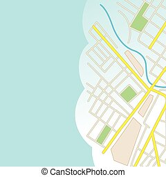 blue background with part of city map - vector