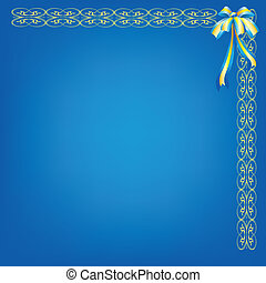 Blue background with pattern and bow
