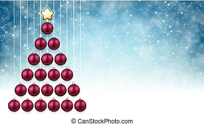 Blue Background With Pink Christmas Tree