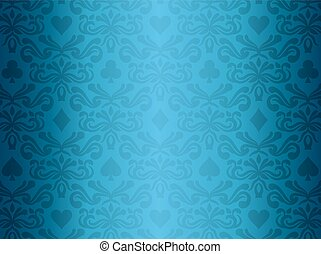 Blue background with poker symbols surrounded by floral ornament pattern