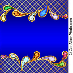 blue background with precious stones and the grid -...