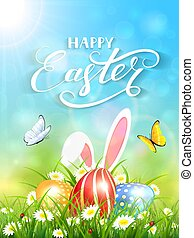 Blue background with rabbit and three Easter eggs in grass