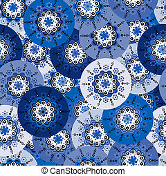 Blue background with round motifs