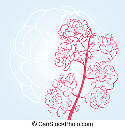 blue background with sakura flowers
