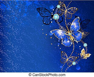 Blue background with sapphire butterfly
