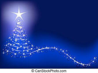 Blue background with shiny Christmas tree.