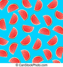 Blue background with slices of watermelon