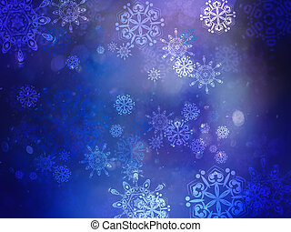Blue Background with Snowflakes - Winter illustration with...