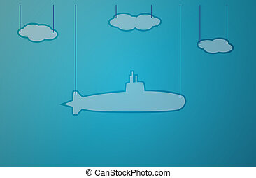 blue background with submarine